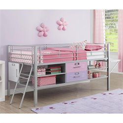 Metal Twin Loft Locker Storage Bed in Purple and Pink
