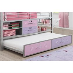 Trundle for Twin Silver Locker Bed in Pink and Purple