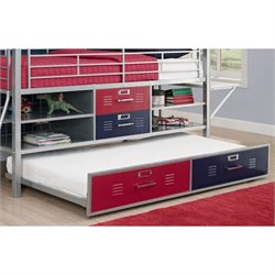 Trundle for Twin Silver Locker Bed in Blue and Red