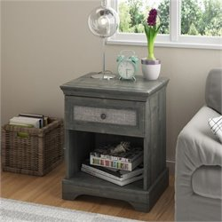 Fabric Panel Wood Nightstand in Rodeo Oak