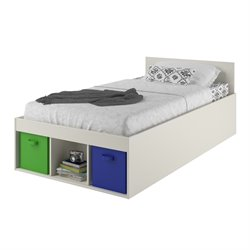 Twin Storage Bed with Fabric Bins in White