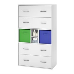 4 Drawer Wood Dresser in White Stipple