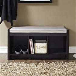 3 Cubby Wood Storage Bench in Espresso with Cushion