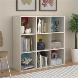 9 Cube Wood Storage Bookcase in White