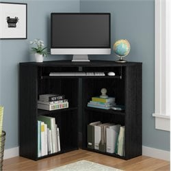 Ameriwood Home Caleb Corner Desk in Black Ebony Ash
