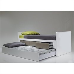 Mobital Jack N Jill Single Trundle Bed in High Gloss White