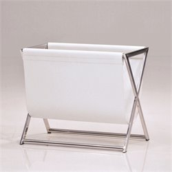 Mobital Cor Magazine Rack in Stainless Steel and Matte White