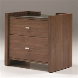 Mobital Diva Glass Top Nightstand in Natural Walnut