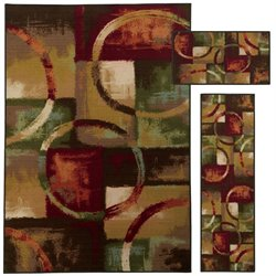 Oriental Weavers Benton 3 Piece Machine Tufted Rug Set in Red