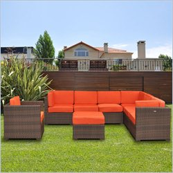 International Home Miami Atlantic 8 Piece Patio Sectional Set