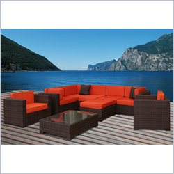 International Home Miami Atlantic 9 Pc Patio Sectional Set in Orange