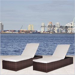 International Home Miami Atlantic Set of 2 Oxford Lounger Set in White