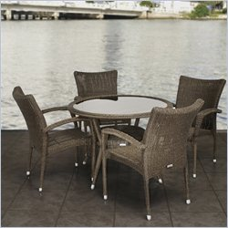 International Home Atlantic 5 Piece Wicker Patio Dining Set in Brown