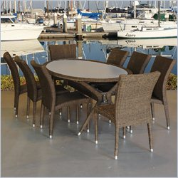 International Home Atlantic 9 Piece Wicker Patio Dining Set in Brown