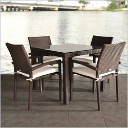 International Home Atlantic 5 Piece Wicker Patio Dining Set in White