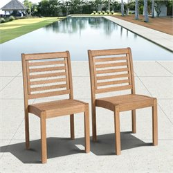 Int Home Miami Corp Eucalyptus Stackable Patio Chair Set without Arms