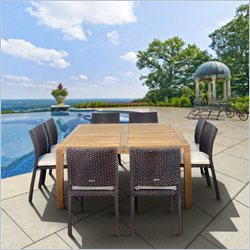 International Home Georgia 9 Piece Wood Patio Dining Set in Teak