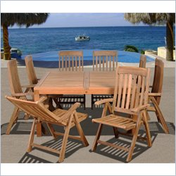 International Home Eiffel 9 Piece Wood Patio Dining Set in Teak