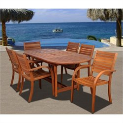 International Home Arizona 7 Piece Wood Patio Dining Set in Eucalyptus