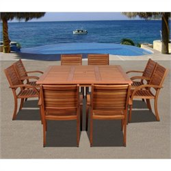 International Home Arizona 9 Piece Wood Patio Dining Set in Eucalyptus