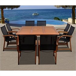 International Home Bahamas 9 Piece Wood Patio Dining Set in Eucalyptus