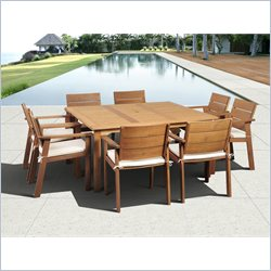 International Home Nelson 9 Piece Wood Patio Dining Set in Eucalyptus