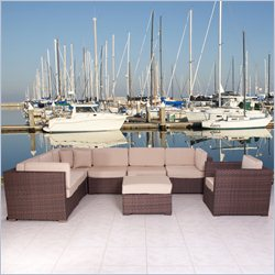 International Home Miami Atlantic Sectional 8 Piece Set in Beige