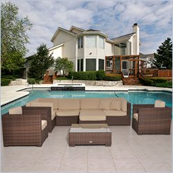 International Home Miami Atlantic Sectional 9 Piece Set in Beige