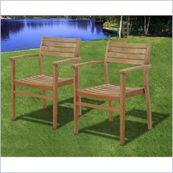 International Home Miami Amazonia Teak Set of 2 Stacking Chair