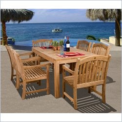 International Home Amazonia 7 Piece Wood Patio Dining Set in Teak