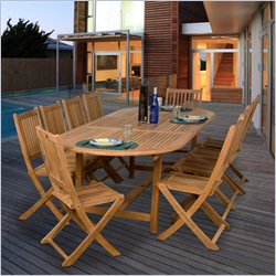 International Home Amazonia 11 Piece Wood Patio Dining Set in Teak