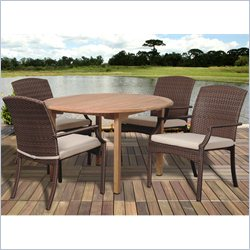 International Home Amazonia Teak 5 Piece Round Patio Dining Set