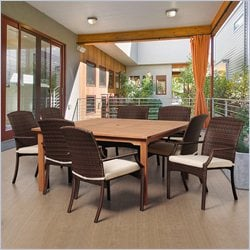 International Home Amazonia 9 Piece Square Patio Dining Set in Brown