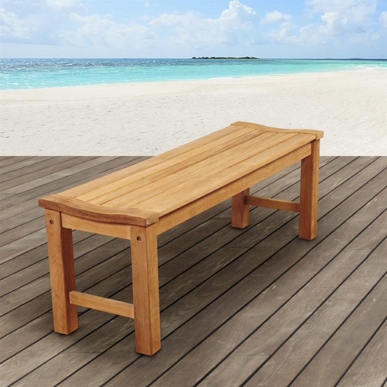 International Home Amazonia Teak Outdoor Bench In Brown Sc Rinjbench