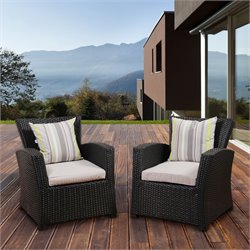 International Home Atlantic 2 Piece Patio Dining Chair in Black