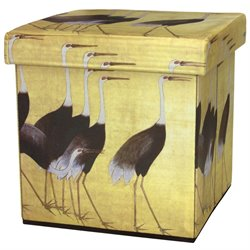 Oriental Furniture March of the Cranes Storage Ottoman