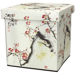 Oriental Furniture Cherry Blossom Storage Ottoman
