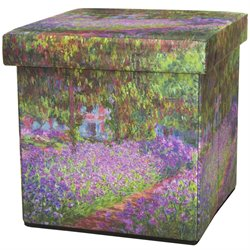 Oriental Furniture Monet Irises Storage Ottoman