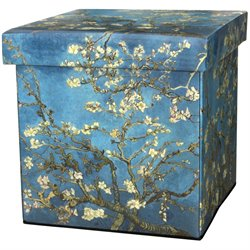 Oriental Furniture Van Gogh Almond Branch Storage Ottoman