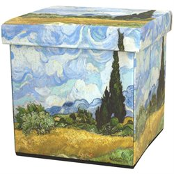 Oriental Furniture Van Gogh Wheat Field Storage Ottoman