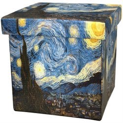 Oriental Furniture Van Gogh Starry Night Storage Ottoman