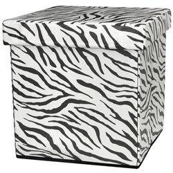 Oriental Furniture Zebra Stripe Storage Ottoman in Zebra Stripe