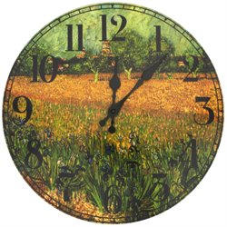 Oriental Furniture Van Gogh Field of Irises Wall Clock