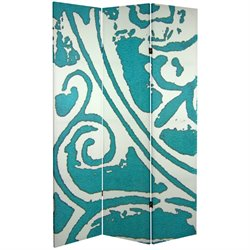 Oriental Furniture 6' Tall Teal Vineyard Canvas Room Divider