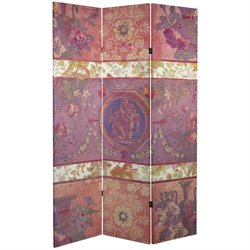 Oriental Furniture 6' Tall Vintage Emblem Canvas Room Divider