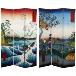 Oriental Furniture 6' Tall Double Sided Hiroshige Room Divider