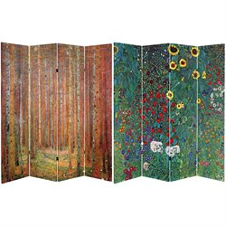 Oriental Furniture 6' Tall Double Sided Works of Klimt Room Divider