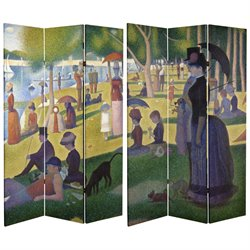 Oriental Furniture 6' Tall Works of Seurat Canvas Room Divider