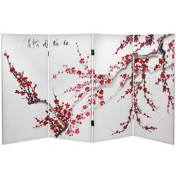 Oriental Furniture 3' Tall Plum Blossom Canvas Room Divider