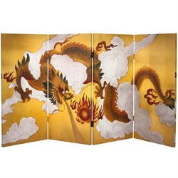 Oriental Furniture 3' Tall Dragon in the Sky Canvas Room Divider